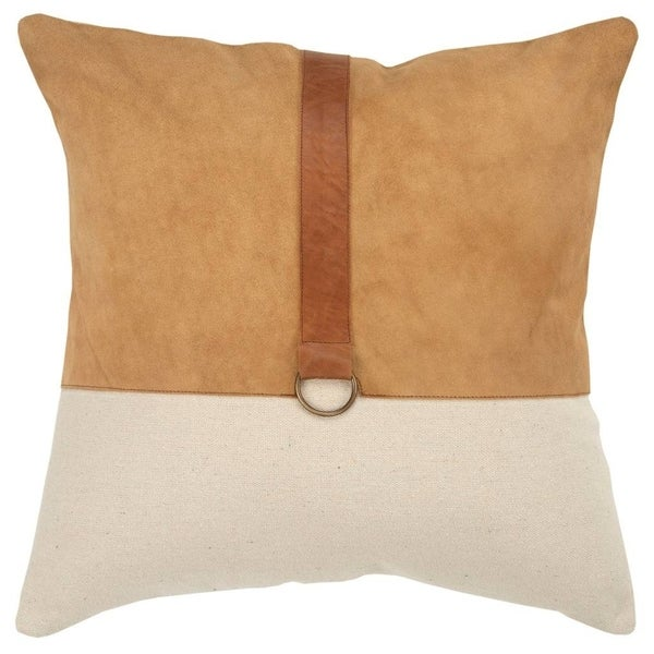 "Rizzy Home Color block Natural/Camel Decorative Poly Filled Pillow - 20""x20"""
