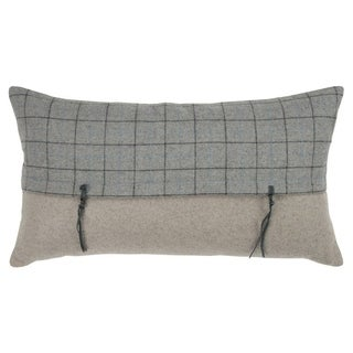 """Rizzy Home plaid Gray Decorative Poly Filled Pillow - 14""""x26"""""""
