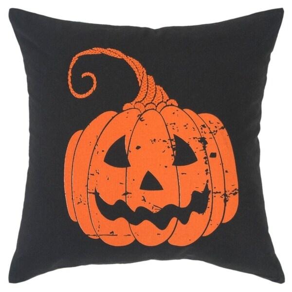 "Rizzy Home Pumpkin Orange/Black Decorative Down Filler Pillow - 20""x20"""
