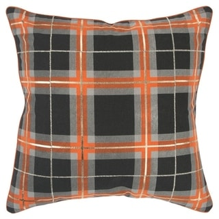 "Rizzy Home Plaid Orange/Black Decorative Poly Filled Pillow - 20""x20"""