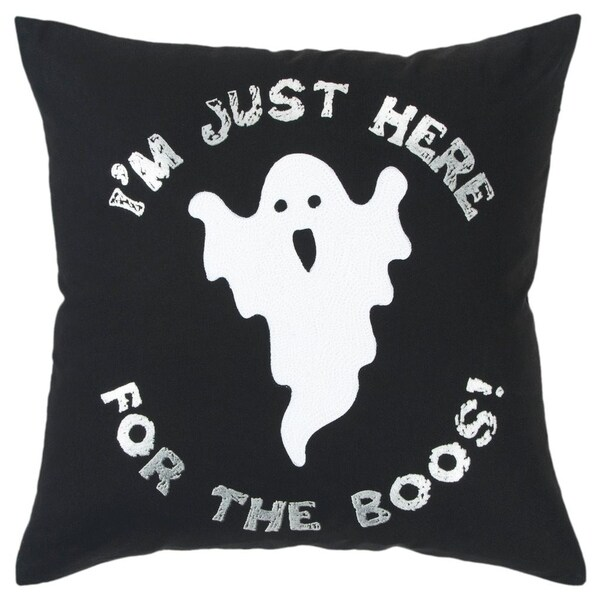"""Rizzy Home Ghost White/Black Decorative Down Filler Pillow - 20""""x20"""""""