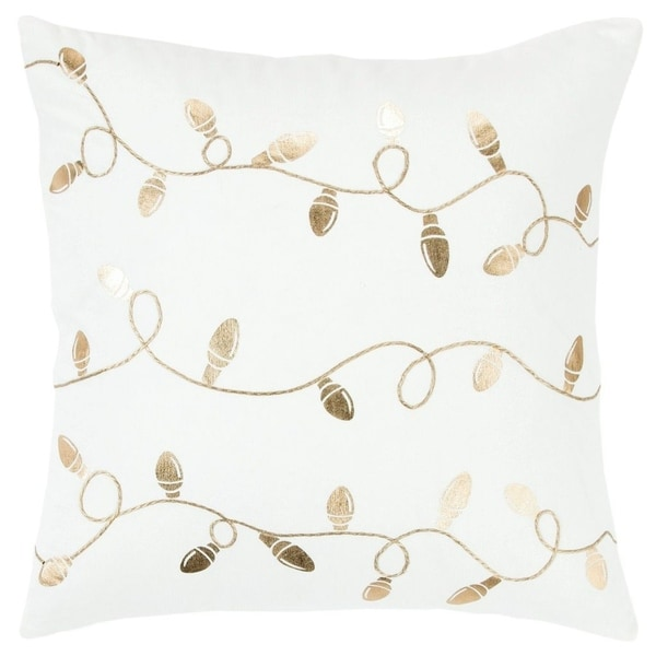"Rizzy Home Light strand White/Gold metallic Decorative Down Filler Pillow - 20""x20"""
