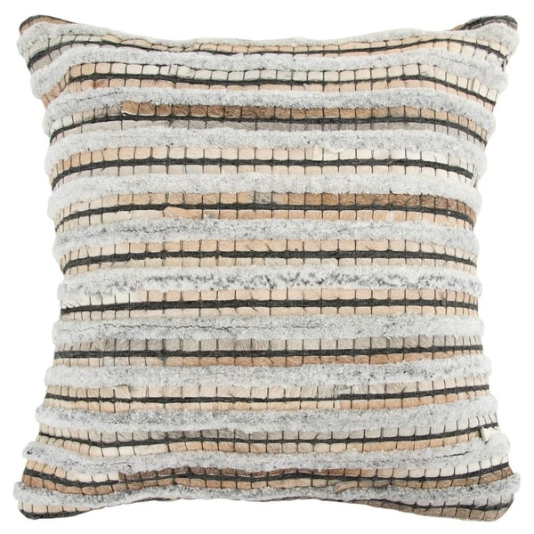"""Rizzy Home Stripe Natural/Beige Donny Osmond Home - 20""""x20"""""""