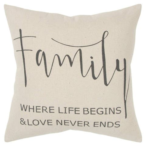 """Rizzy Home Sentiment Natural Decorative Poly Filled Pillow - 20""""x20"""""""