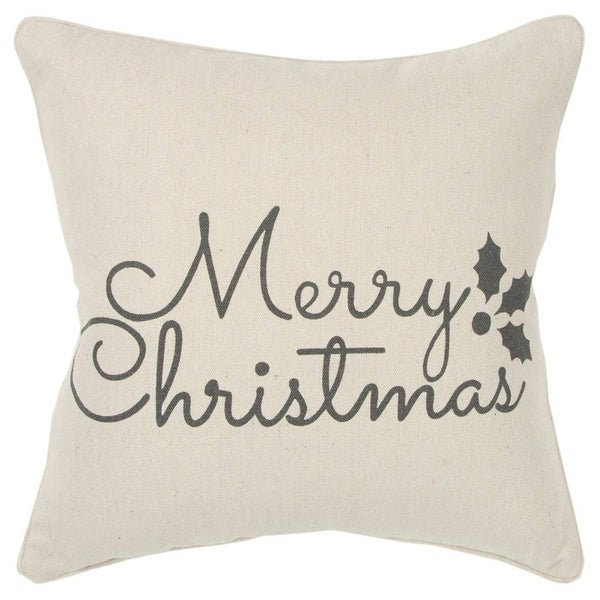 "Rizzy Home Holiday sentiment Natural Decorative Poly Filled Pillow - 20""x20"""