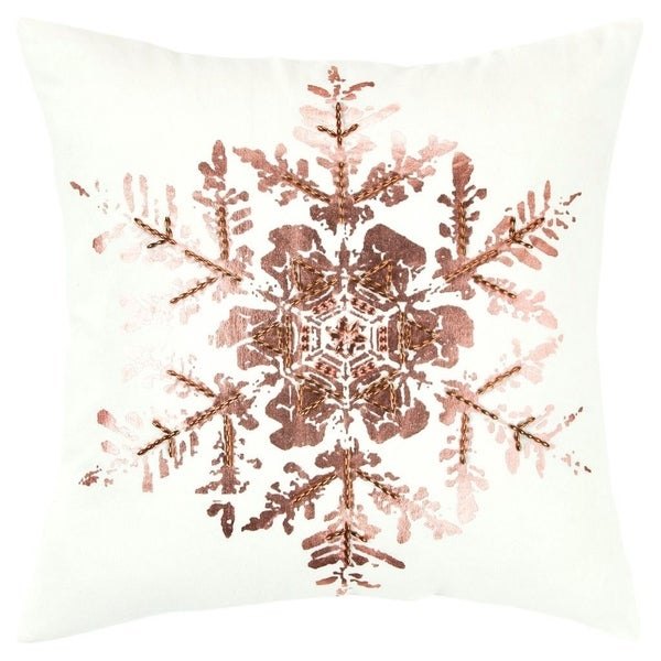 "Rizzy Home Snowflake White/Rose Copper Decorative Down Filler Pillow - 20""x20"""