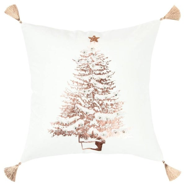 """Rizzy Home Christmas tree White/Rose Copper Decorative Poly Filled Pillow - 20""""x20"""""""