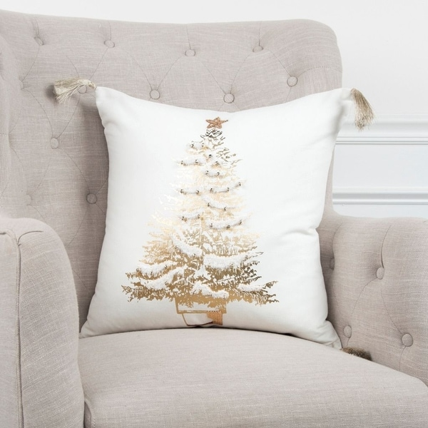 """Rizzy Home Gold Tree 20""""x20"""" Pillow Cover"""