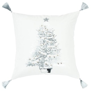 """Rizzy Home Christmas tree White/Silver metallic Decorative Poly Filled Pillow - 20""""x20"""""""