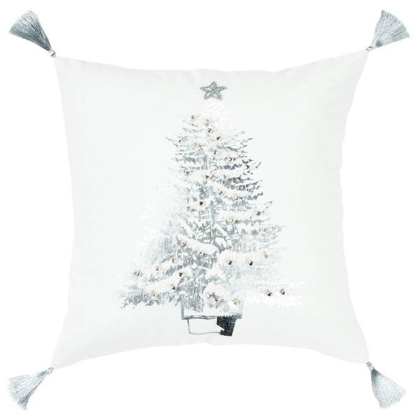 "Rizzy Home Christmas tree White/Silver metallic Decorative Poly Filled Pillow - 20""x20"""