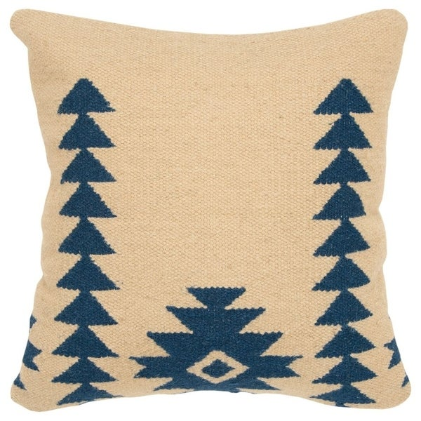 "Rizzy Home Aztek motif Navy Decorative Down Filler Pillow - 18""x18"""