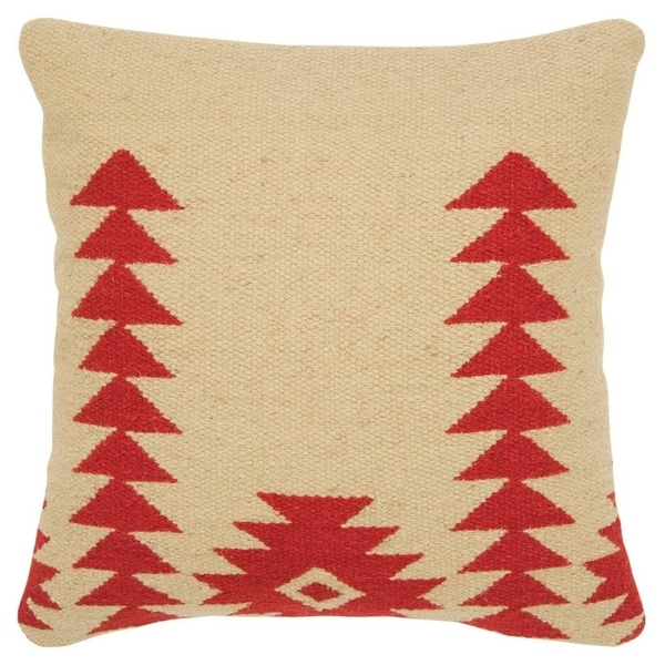 "Rizzy Home Aztek motif Red Decorative Poly Filled Pillow - 18""x18"""
