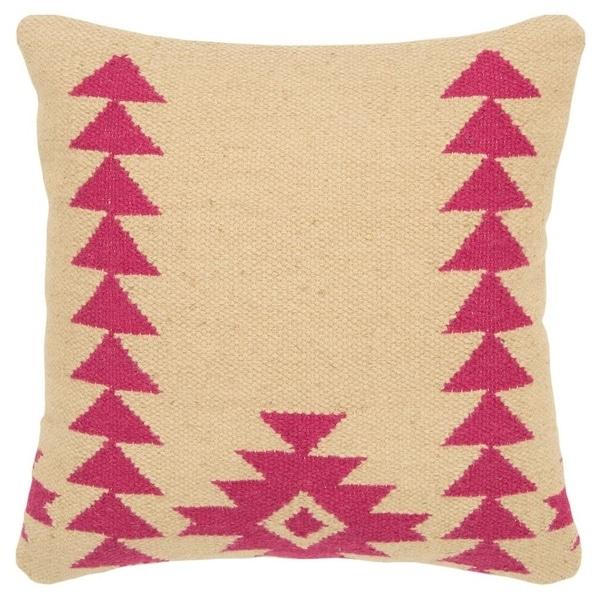 """Rizzy Home Aztek motif Hot Pink Decorative Down Filler Pillow - 18""""x18"""""""