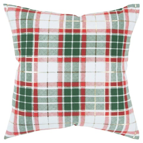 """Rizzy Home Plaid White/Red and Green Decorative Poly Filled Pillow - 20""""x20"""""""