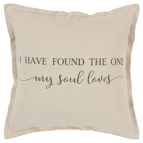 """Rizzy Home Sentiment Natural Decorative Down Filler Pillow - 20""""x20"""""""