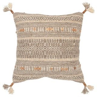 """Rizzy Home Stripe Natural Decorative Down Filler Pillow - 20""""x20"""""""