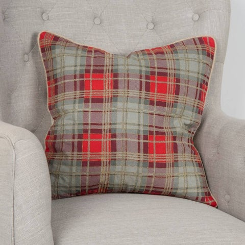 """Rizzy Home Plaid Gray/Red Decorative Poly Filled Pillow - 20""""x20"""""""