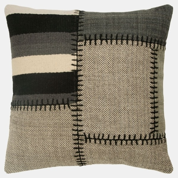 """Rizzy Home Color block Grays Decorative Poly Filled Pillow - 20""""x20"""""""