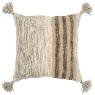 The Curated Nomad Dernakova Striped Grey/ Black Poly-filled Decorative Pillow