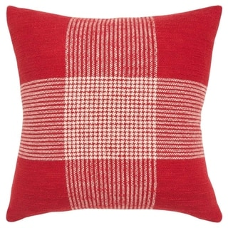 "Rizzy Home Plaid Red/White Decorative Poly Filled Pillow - 20""x20"""