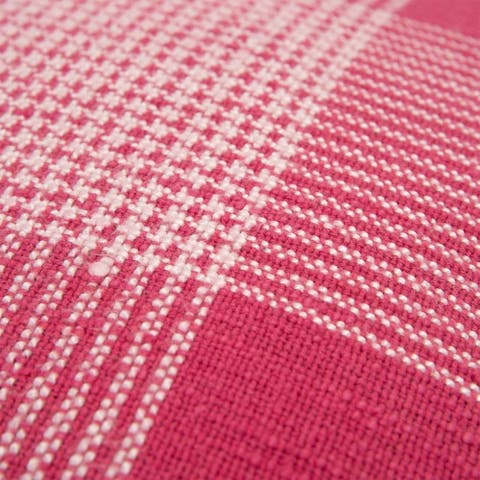"""Rizzy Home Plaid Hot pink/White Decorative Down Filler Pillow - 20""""x20"""""""