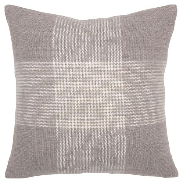 "Rizzy Home Plaid Gray/White Decorative Down Filler Pillow - 20""x20"""