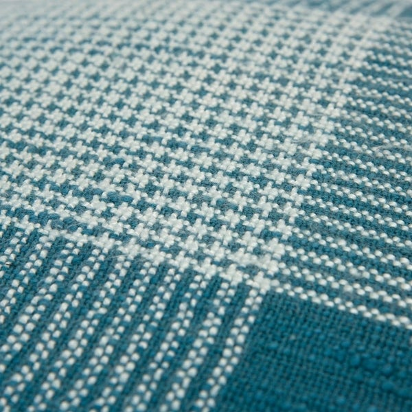 "Rizzy Home Plaid Dark Teal/White Decorative Down Filler Pillow - 20""x20"""