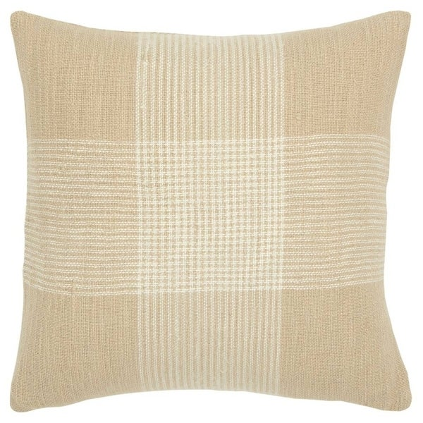 Porch & Den Cahalin Natural and White Plaid Poly Filled 20-inch Throw Pillow