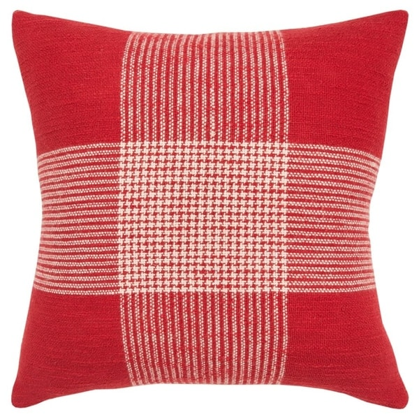 """Rizzy Home Plaid Red/White Decorative Down Filler Pillow - 20""""x20"""""""