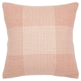 "Rizzy Home Plaid Pink/White Decorative Poly Filled Pillow - 20""x20"""