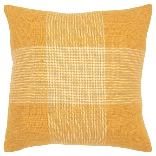 Porch & Den Cahalin Yellow and White Plaid Poly Filled 20-inch Throw Pillow