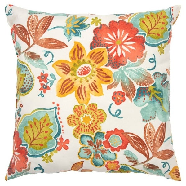 """Rizzy Home Floral Cream/Teal Decorative Poly Filled Indoor/Outdoor Pillow - 22""""x22"""""""
