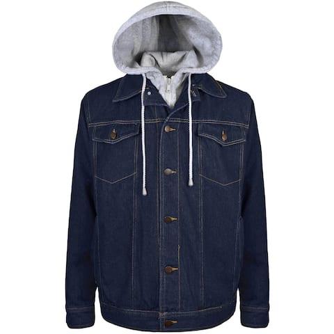 Men's Fleece Lined Hooded Denim Jacket