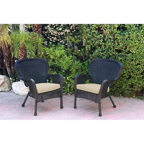 Set of 2 Windsor Black Resin Wicker Chair with Cushion