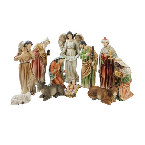 """11-Piece Traditional Religious Christmas Nativity Set with Removable Baby Jesus 15.5"""""""