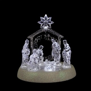 "7.75"" Icy Crystal Pre-Lit LED Lighted Holy Family in Stable Christmas Nativity"