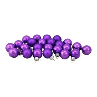 "24-Piece Shiny and Matte Purple Glass Ball Christmas Ornament Set 1"" (25mm)"