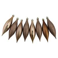 8ct Mocha Brown Shatterproof 4-Finish Finial Drop Christmas Ornaments 5.5""