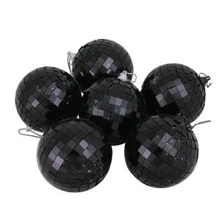 6ct black mirrored glass disco ball christmas ornaments 325 80mm