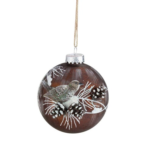 """Brown Mercury Glass Ball Christmas Ornament with Bird and Pine Cones 3.25"""" (80 mm)"""