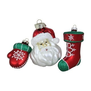 """3-Piece Set of Santa Mitten and Stocking Shaped Glass Christmas Ornaments 4.25"""""""