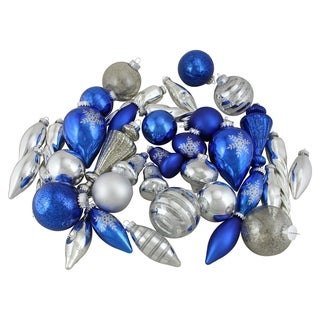 36-Piece Blue and Silver Collection Asymmetrical Christmas Ornament Set