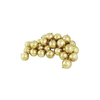 "36ct Shiny Champagne Gold Shatterproof Christmas Ball Ornaments 4"" (100mm)"