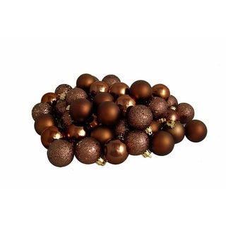 "96ct Mocha Brown Shatterproof 4-Finish Christmas Ball Ornaments 1.5"" (40mm)"