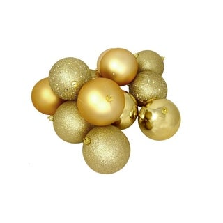 "96ct Vegas Gold 4-Finish Shatterproof Christmas Ball Ornaments 3.25"" (80mm)"