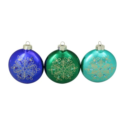 3-Piece Glitter Snowflake Blue and Green Disc Shaped Glass Disk Ornament Set