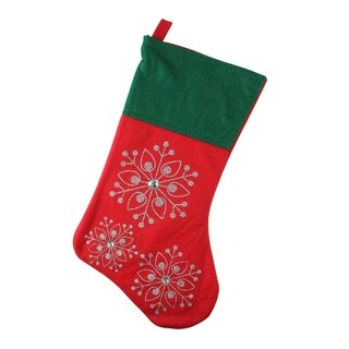 """19"""" Red and Green Felt Christmas Stocking with Glitter Snowflakes and Gemstones"""