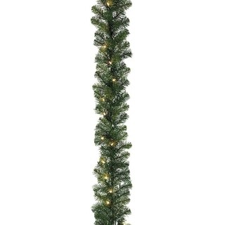 """27' x 14"""" Pre-Lit Olympia Pine Artificial Christmas Garland - Clear Lights"""