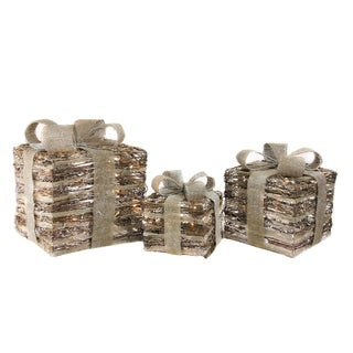 Set of 3 Lighted Rattan Gift Boxes with Bows Christmas Decorations