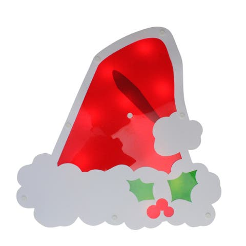 """12.5"""" Lighted Santa Hat with Holly Berries Window Silhouette Decoration"""